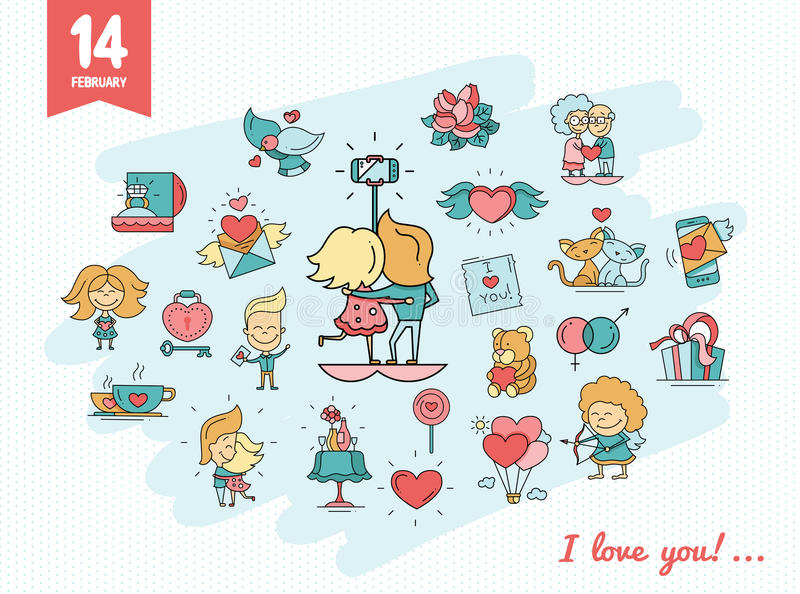 Flat design Valentines day love icons and romance elements. Flat design vector Valentines day love icons and romance elements royalty free illustration