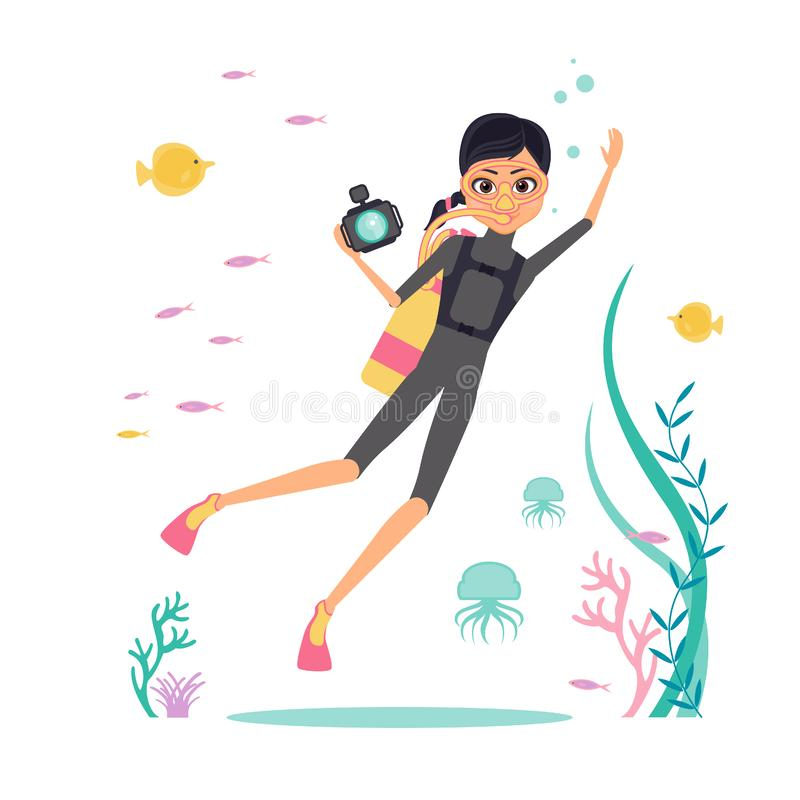 Flat design. Vector character deep-sea diver with a camera for filming underwater flora and fauna. Diver in fins, mask and scuba d. Iving. Around the jellyfish royalty free illustration