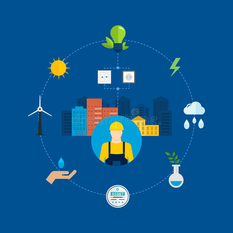 Flat design vector concept illustration with icons. Of ecology, environment, eco friendly energy and and green technology. Concept of green building and clean vector illustration