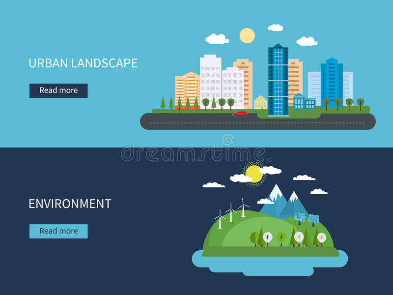 Flat design vector concept illustration with icons royalty free illustration