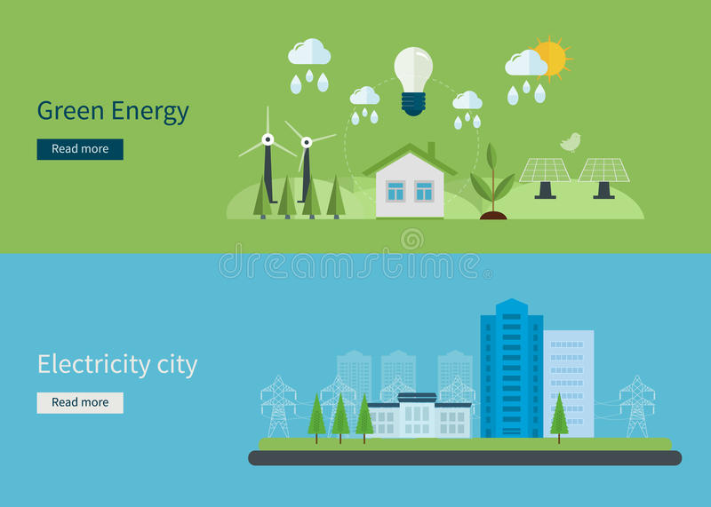 Flat design vector concept illustration with icons. Of green energy, eco friendly and electricity city. Vector illustration vector illustration