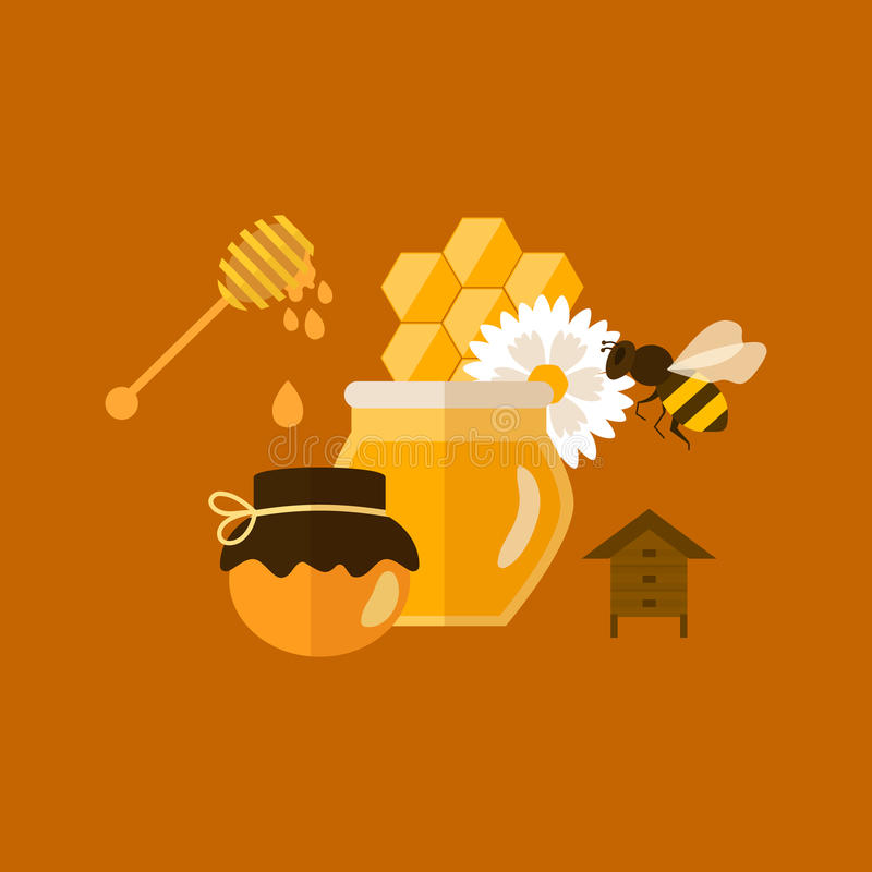 Flat design vector concept illustration with icons. Of products bee-keeper and best product organic natural honey bee vector illustration