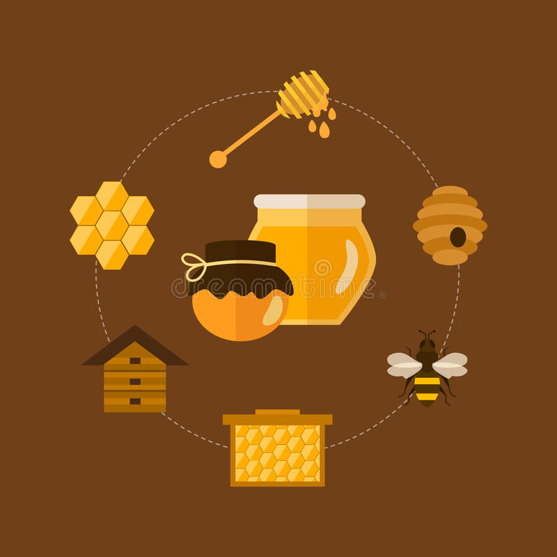 Flat design vector concept illustration with icons. Of products bee-keeper and best product organic natural honey bee royalty free illustration