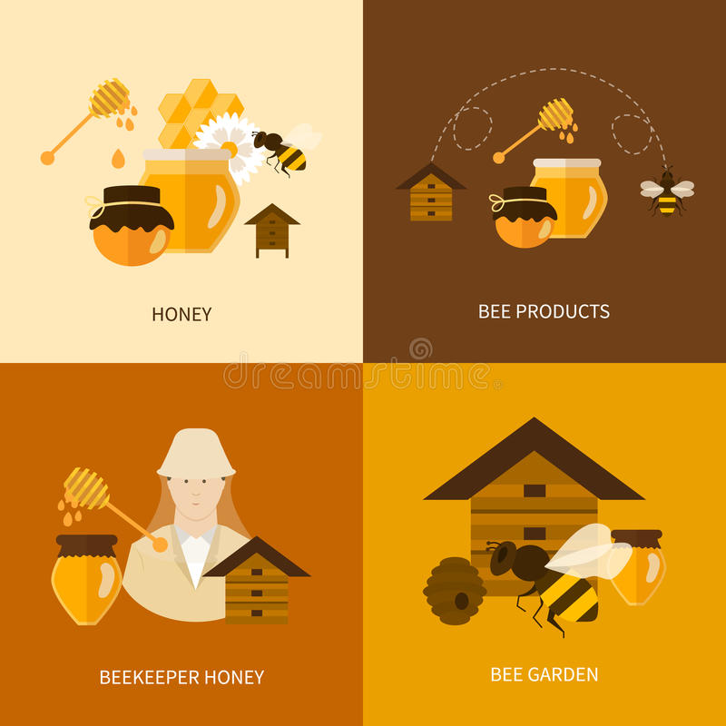 Flat design vector concept illustration with icons stock illustration