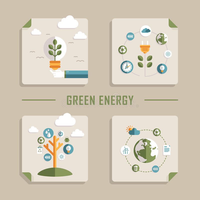 Flat design vector icons for green energy royalty free illustration