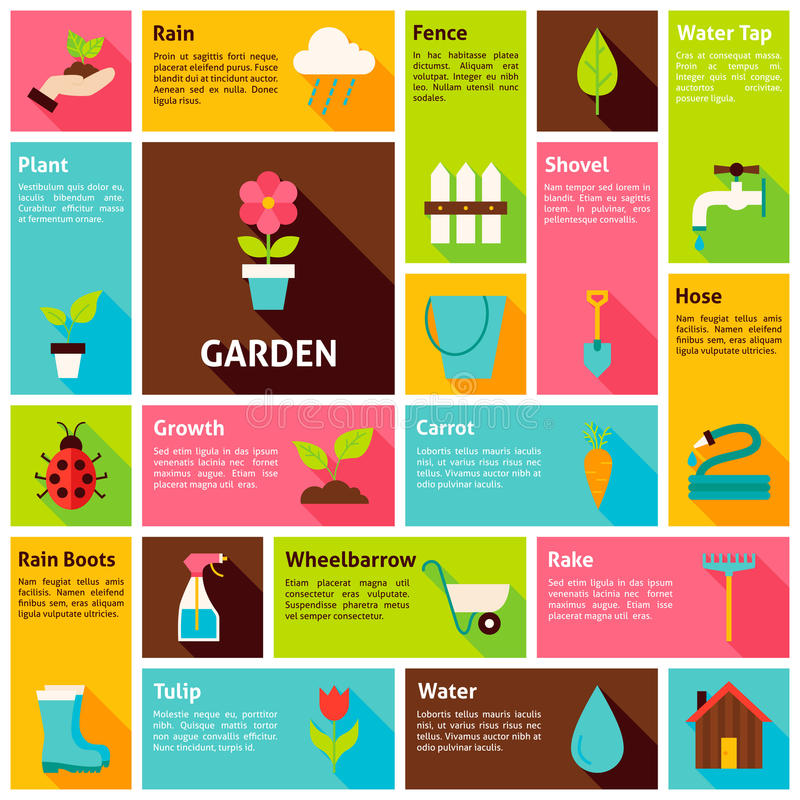 Flat Design Vector Icons Infographic Garden Nature Concept vector illustration