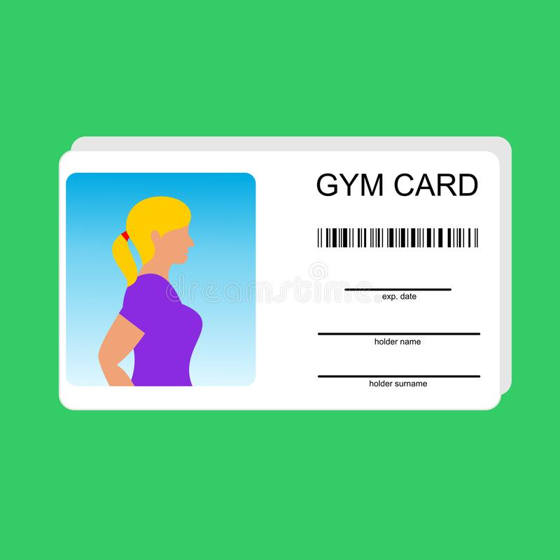 Vector template for card of gym.  Identity document for fitness club with person photo and text. Flat design, vector illustration on background vector illustration