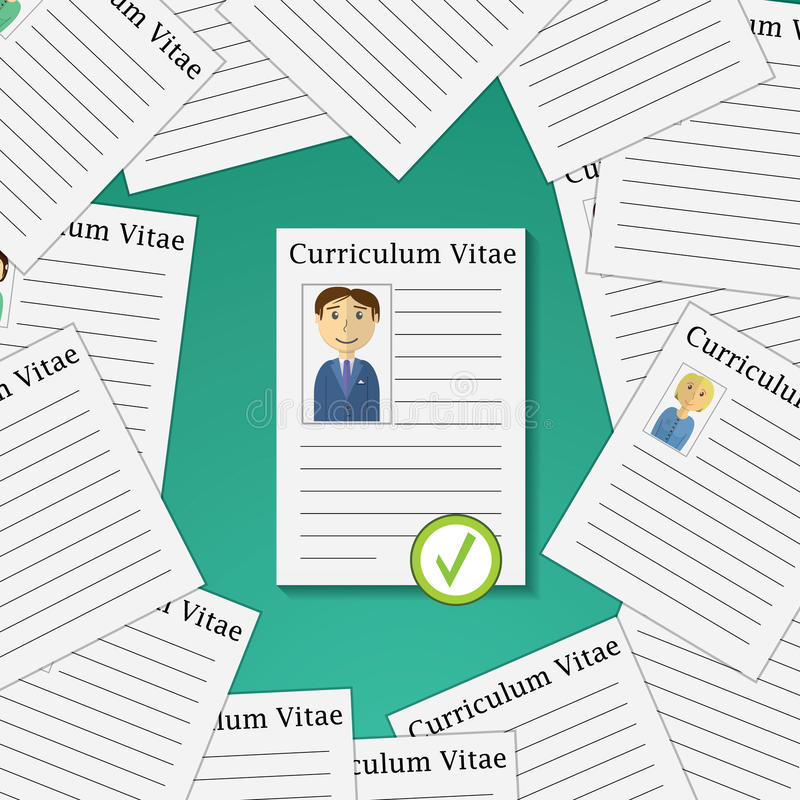 Flat design vector illustration concept for picking from Profiles Candidate to Hire. Choose man from Group of Business People. royalty free illustration