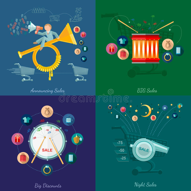 Flat design vector illustration concepts of sale and business. Annuncing sale big discounts night sale big sale vector illustration