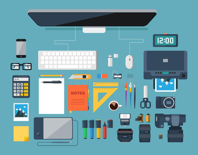 Flat design vector illustration of creative designer workplace. Top view. Flat design vector illustration of creative designer workplace. Top view of desk royalty free illustration