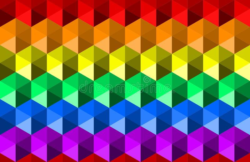 Colorful waving rainbow texture background of hexagon shapes, LGBTQ pride flag colors, horizontal seamless pattern. vector illustration