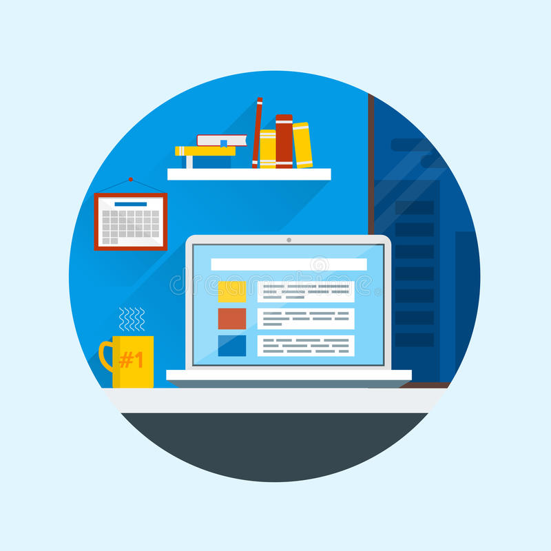Flat design vector illustration of modern office interior. Creative cartoon office workspace with computer, calendar, books, mug. Flat minimalistic style and