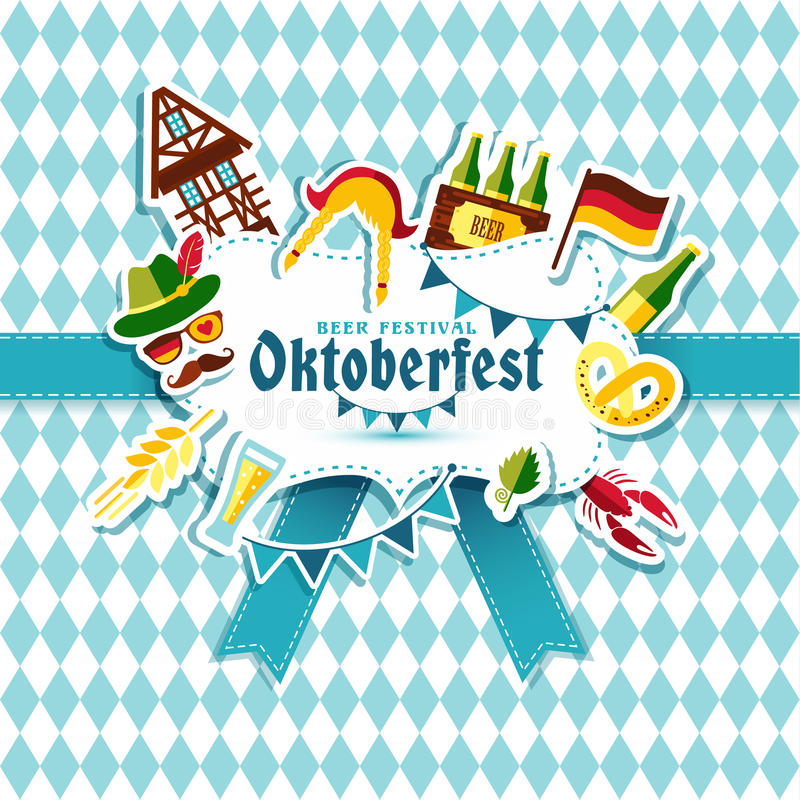 Flat design vector illustration with oktoberfest celebration royalty free illustration