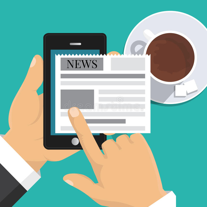 Reading news on screen of smartphone. Hand holding mobile phone stock illustration