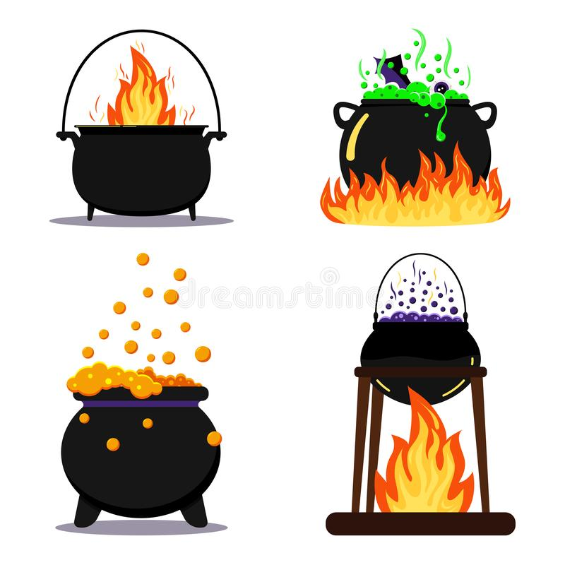 Flat design vector illustration set black halloween witches cauldron with green, orange, purple poison potion isolated. royalty free illustration