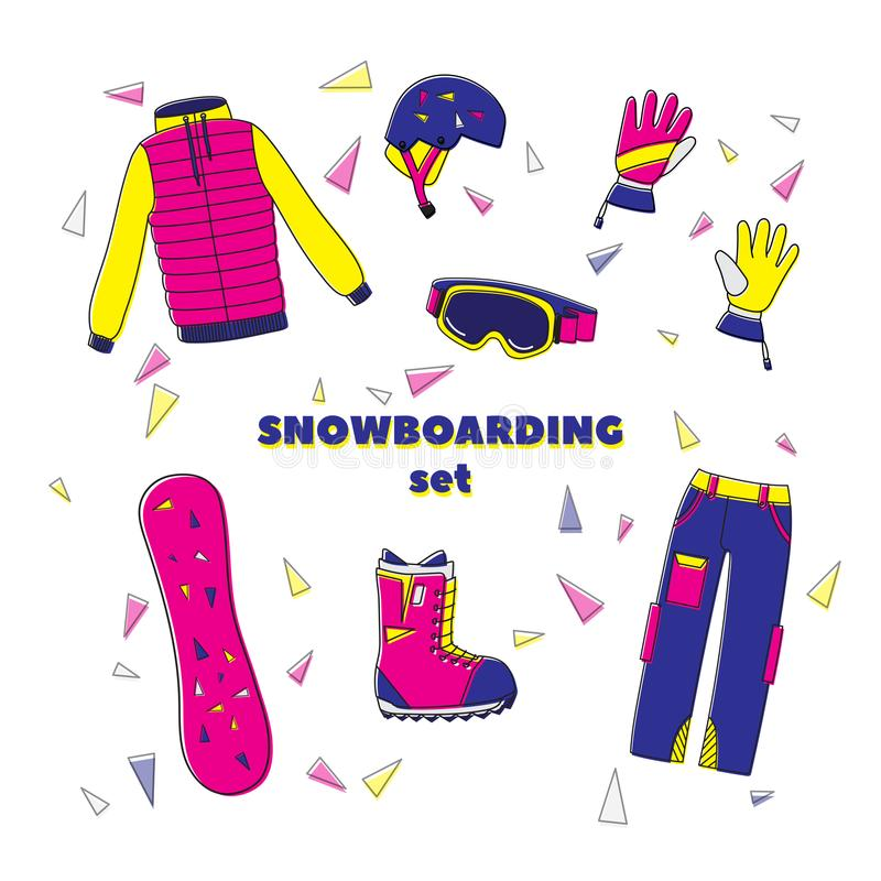 Flat design vector illustration set of snowboard equipment icon . Winter sports. Outfit, clothing, accessories for skiing, snowboa vector illustration