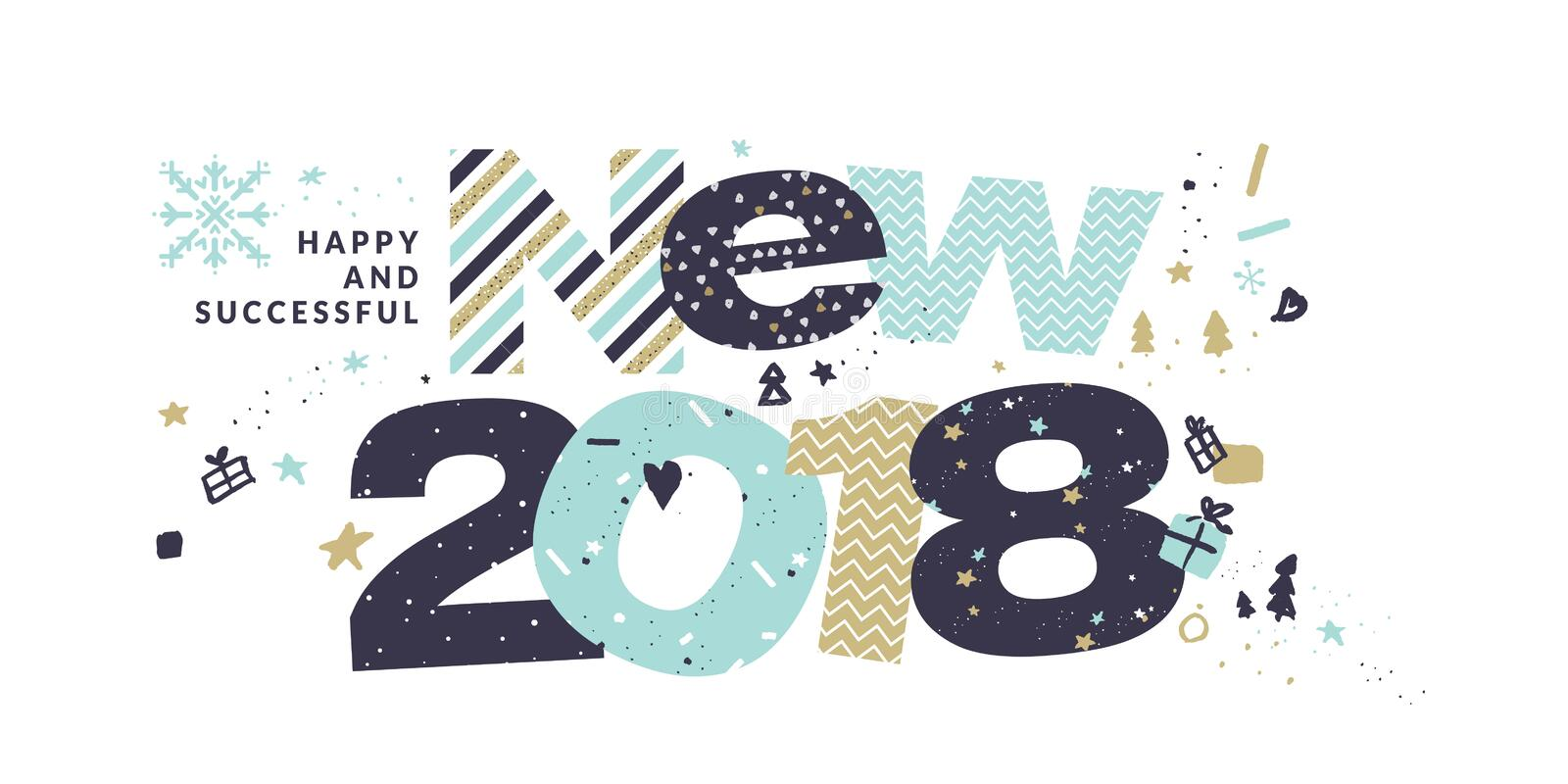 new year 2018 greeting card stock vector illustration of line