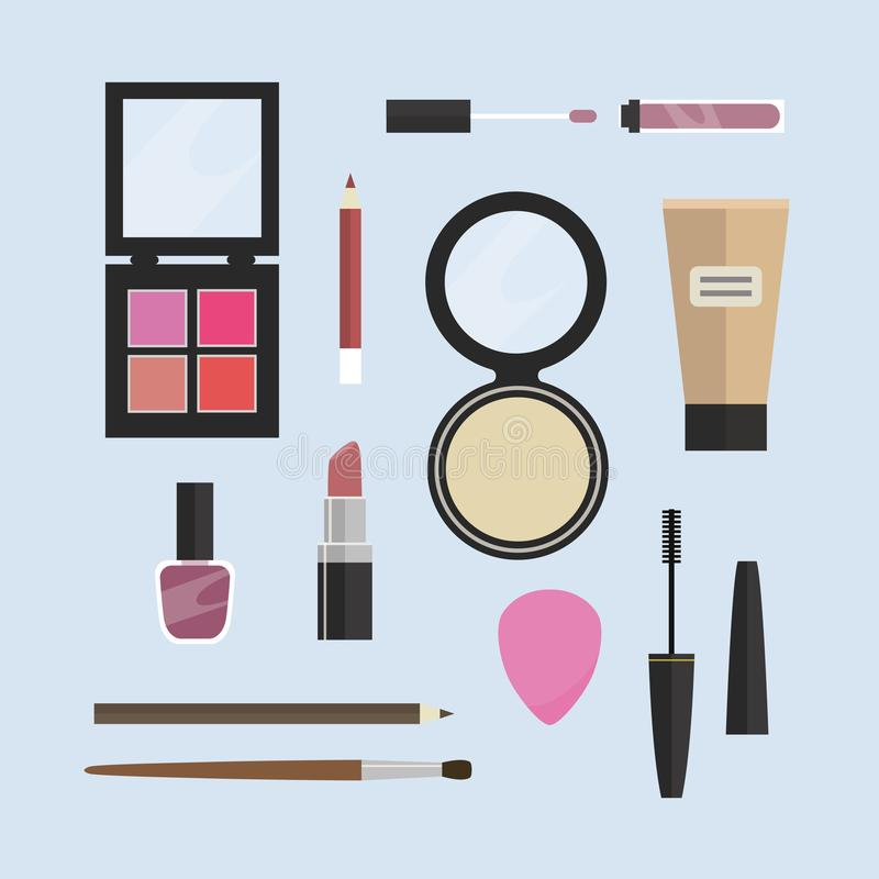Flat design vector make-up products and accessories collection on blue background royalty free illustration