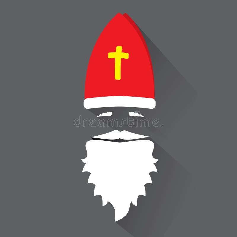 Flat Design Vector Saint Nicholas on black background. Greeting Card. stock photography