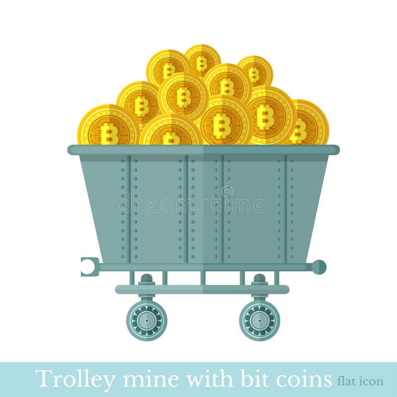 Flat design vector trolley mine with gold bit coins on white.  vector illustration