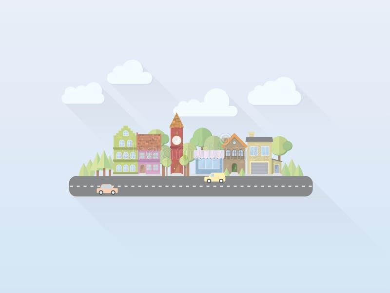 Flat Design Village Cityscape Vector Illustration vector illustration