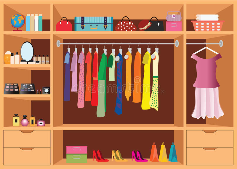 Flat Design walk in closet with shelves. royalty free illustration
