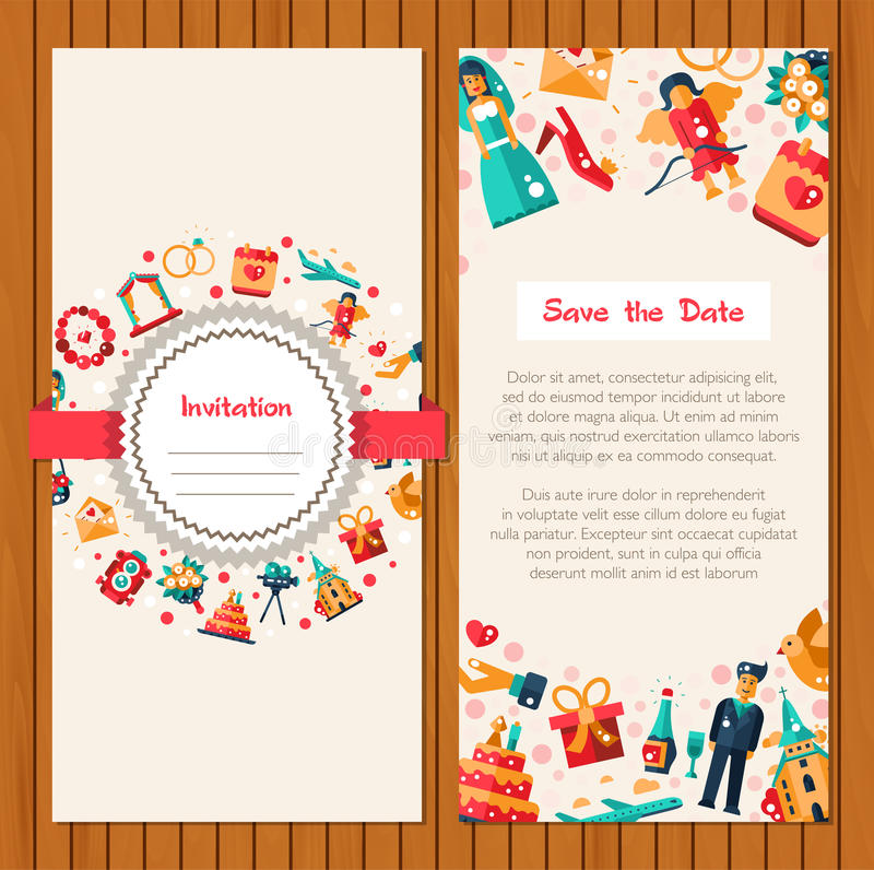 Flat Design Wedding And Marriage Invitation Card Template Stock ...