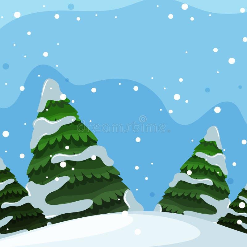 Flat design of winter landscape. Illustration royalty free illustration