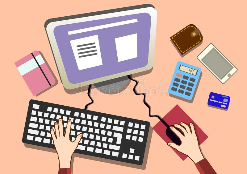 Flat design work desk with hands. Office workplace top view. Illustration eps stock illustration