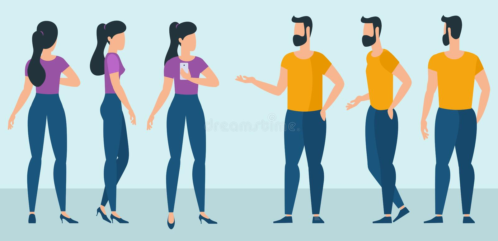 Flat design ready to animation characters royalty free illustration