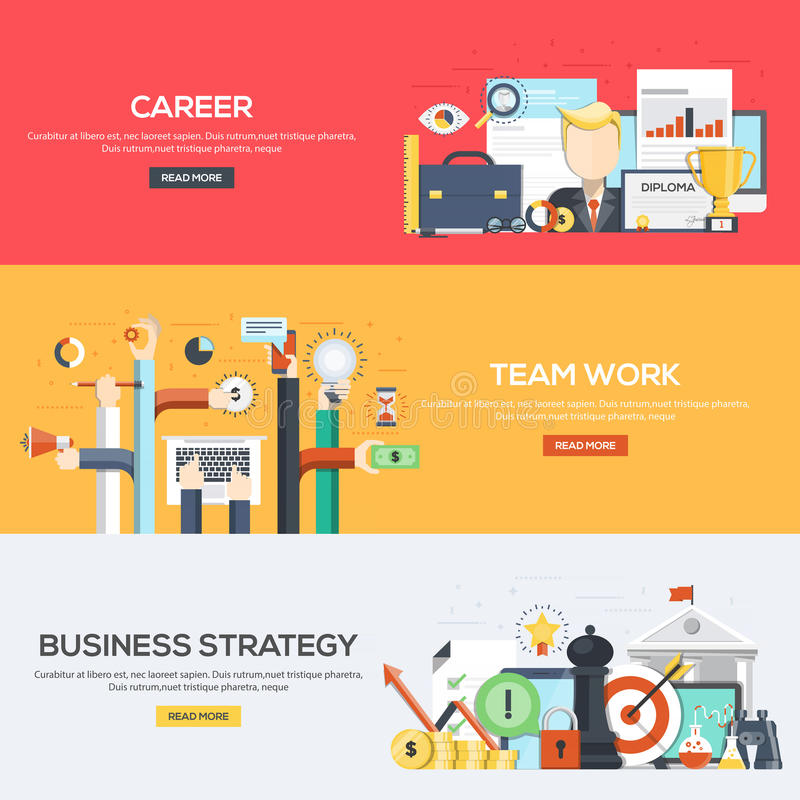 Flat designed banners- Career, team work and Business Strategy royalty free illustration
