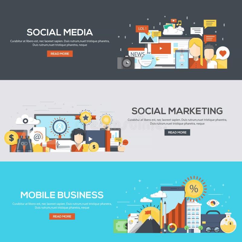 Flat designed banners- Social media, Social Marketing and Mobile stock illustration