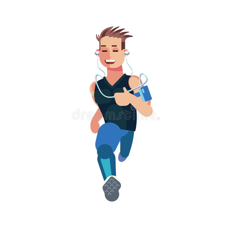 Flat designed young runner running isolated on white background. Flat designed character of a runner isolated on white background. Front view of a running man stock illustration