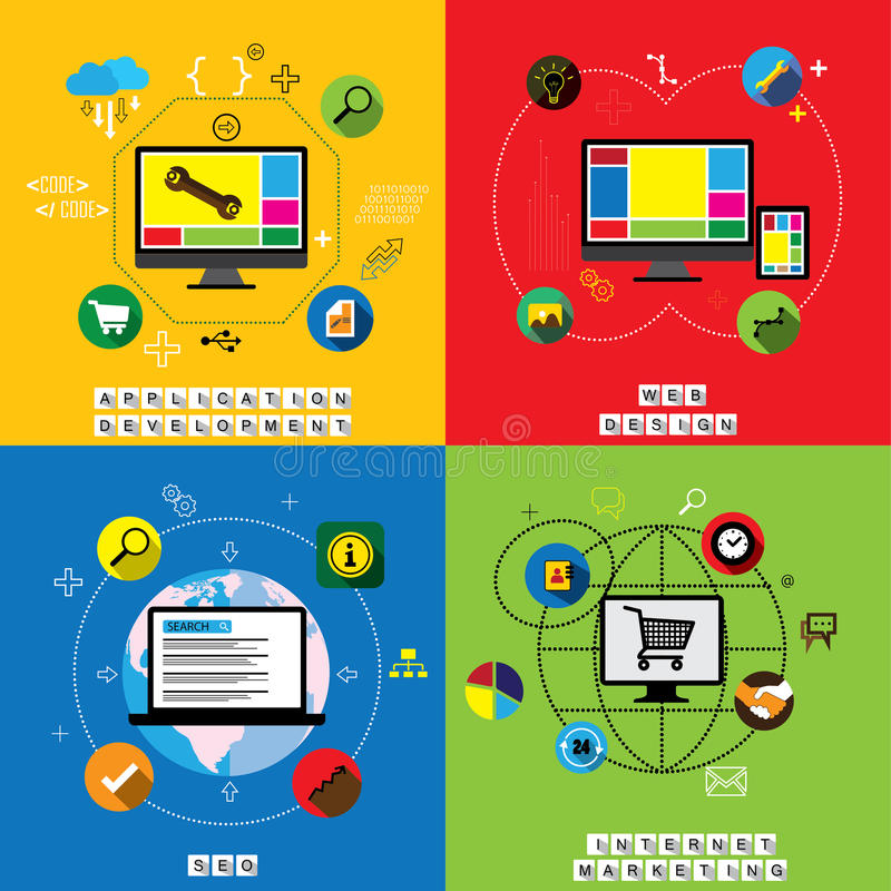 Flat designs of website design, application & app development vectors. This graphic also represents internet marketing, social media marketing, search engine vector illustration