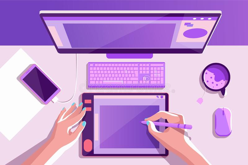 Flat desktop top view with laptop, tea, illustrator hands, mobile phone. Concept workplace, workspace with special equipment for freelance. Vector illustration stock illustration