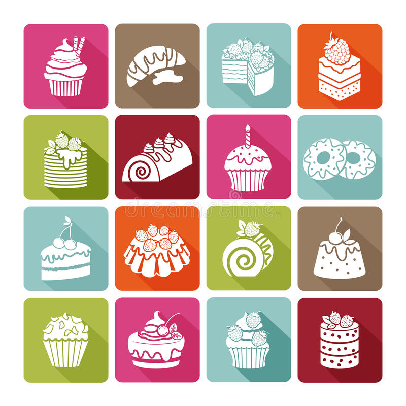 Free Flat Dessert Icons Of Cakes For Bakeries And Stock Images - 55456574