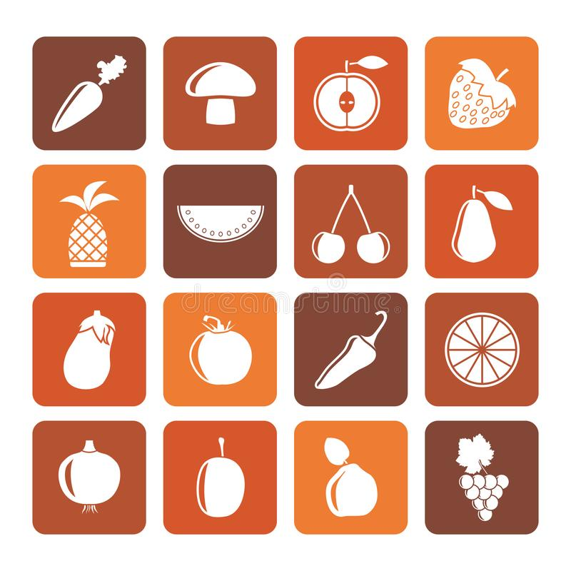 Flat Different kinds of fruits and Vegetable icons stock illustration
