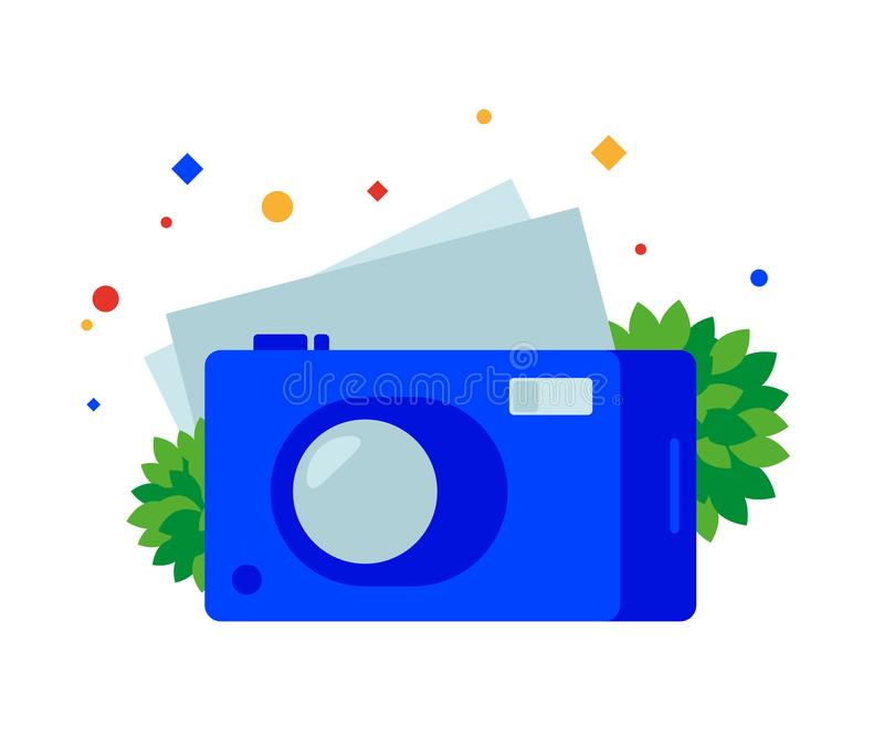 Flat digital camera. stock illustration