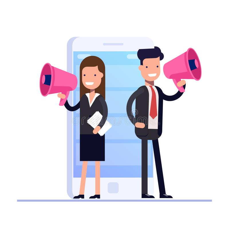 Flat digital marketing concept. Businessman and Businesswoman speaks in megaphone against the background of an mobile vector illustration