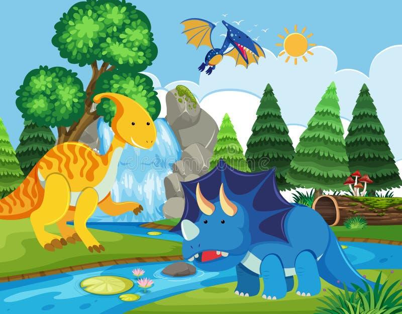 Flat dinosaur in nature. Illustration royalty free illustration