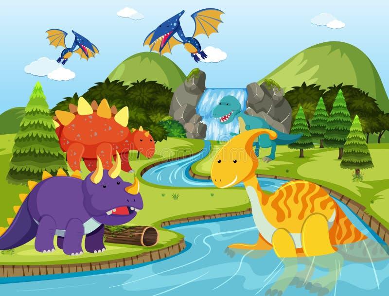 Flat dinosaur in nature. Illustration stock illustration