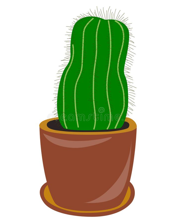 Free Flat Drawing Of A Cactus. Houseplant. Green Cactus In A Pot. Isolated, White . Vector Royalty Free Stock Image - 121740106