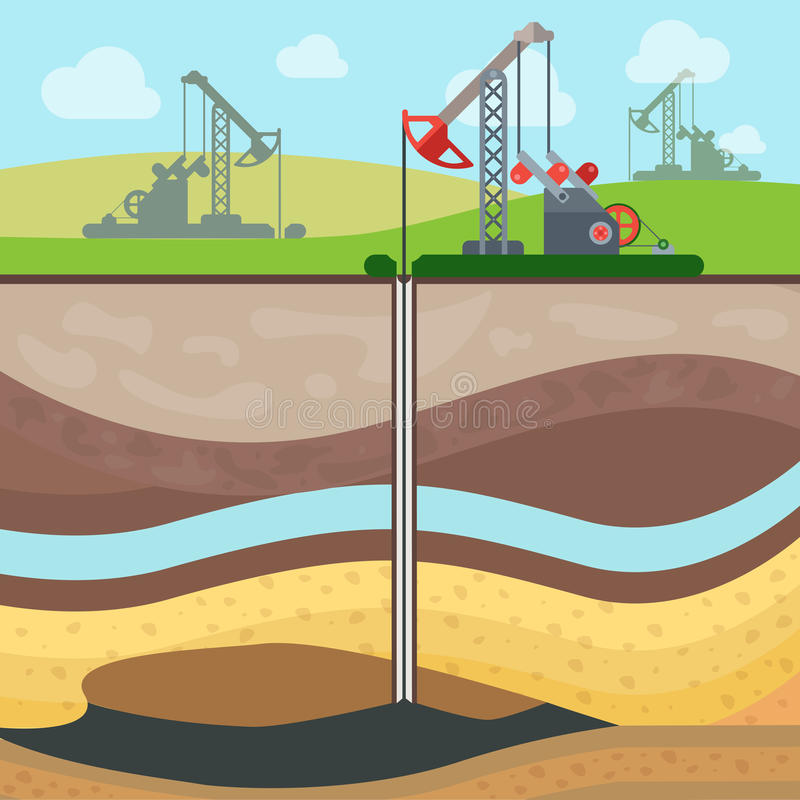 Flat drilling rig oil field soil layers vector. Flat Industrial drilling rig and Oil field, Soil layers vector illustration. Extraction of nature resources vector illustration