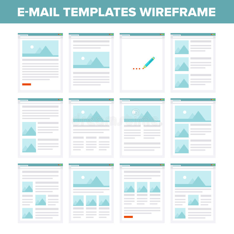 Flat e-mail templates wireframe. Vector collection of flat e-mail templates wireframe royalty free illustration