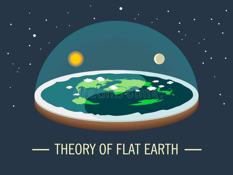 Flat earth with atmosphere with sun and moon. Ancient belief in plane globe in form of disk. Cosmology and pseudoscience, old science and flat-earthers vector illustration