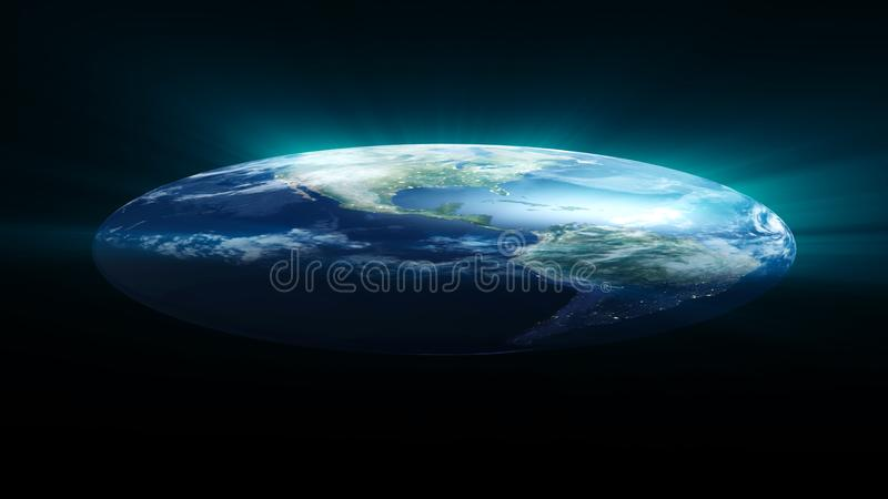 Flat Earth on black background. Digital illustration. 3d rendering stock photos