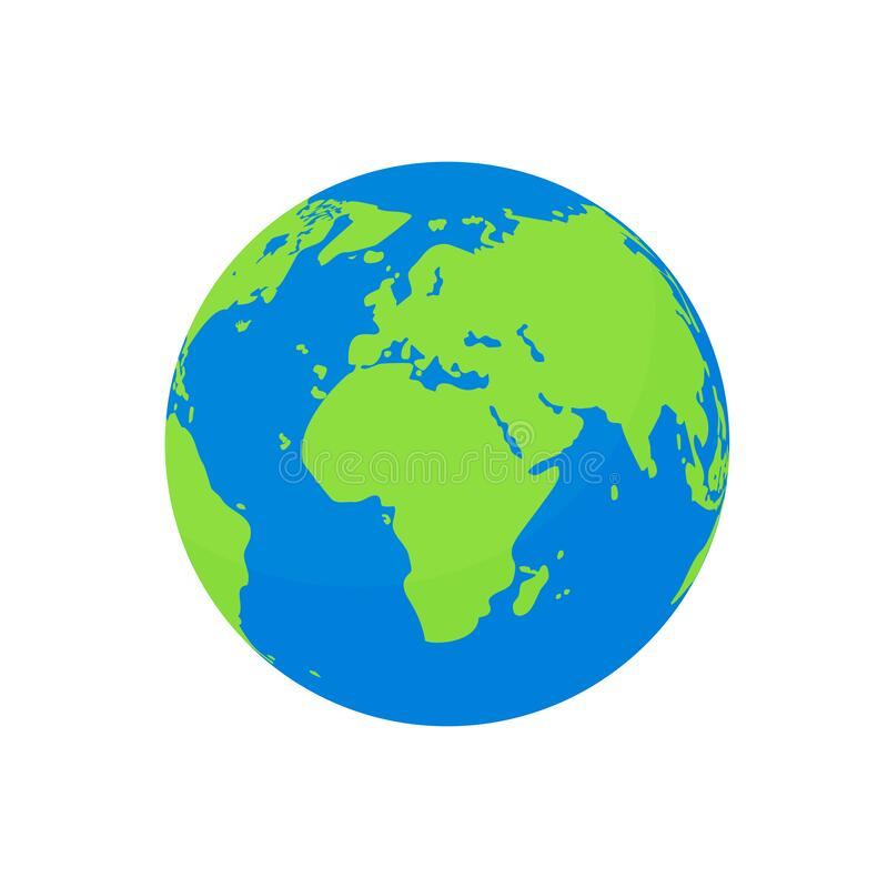 Free Flat Earth Globe Isolated. Cartoon World Planet With Europe Continent, America And Blue Ocean. Ecology Concept. Nature Geography Stock Image - 184109481