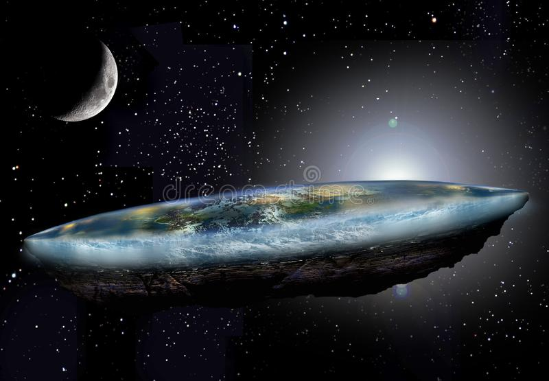 Flat Earth and Moon vector illustration
