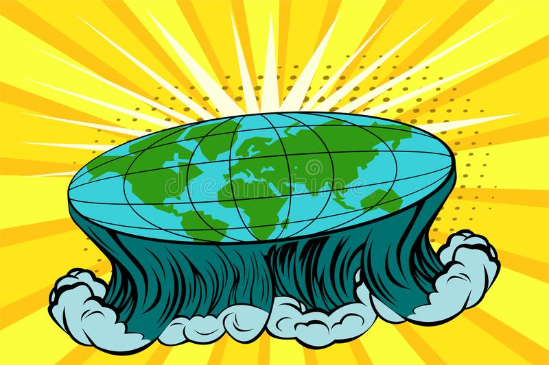 Flat earth with nature landscape. Globe in form of disk. Vector bright background in pop art retro comic style royalty free illustration