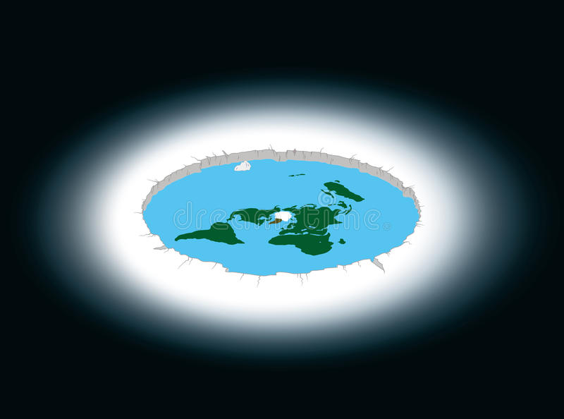 Flat Earth surrounded by Antarctica. Illustration. stock illustration